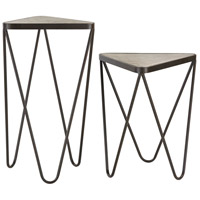 Sterling Set of 2 Angular Side Table in Antique Silver and Bronze 51-002/S2