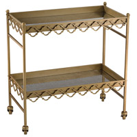 Quaterfoil 30 X 16 inch Gold and Antique Mercury Bar Cart Home Decor