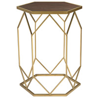 Hexagonal 19 X 16 inch Gold and Mahogany Side Table Home Decor