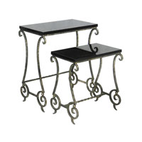 Sterling Industries Set of 2 Marble Stacking Side Tables in Black Marble with Antiqued Gold 51-0138