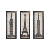 Sterling Set of 3 Signature Iconic Cities Triptych in Grey Iron 51-014/S3