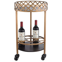 Quaterfoil Gold and Walnut Bar Cart