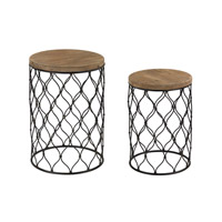 Sterling Set of 2 Mesh Work Drum Table in Black and Natural Oak 51-022/S2
