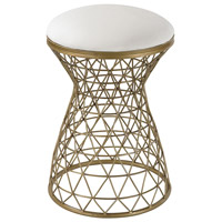 Wire Mesh Gold and Cream Linen Bench