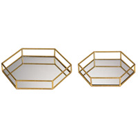 Sterling Set of 2 Hexagonal Tray in Gold 51-024/S2