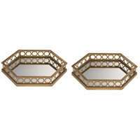 Sterling Set of 2 Ribbed Hexagonal Tray in Gold 51-025/S2