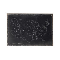 Sterling Industries Chalk Outline Map Of Usa On Black Canvass Wall Art in Black / Chalk 51-10006