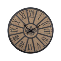 Sterling Industries 26 Linen And Metal Crown Faced Clock in Linen / Black 51-10012