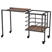 Sterling Industries Industrial Fold Away Storage Bench Furniture in Restoration Black / Stained Wood 51-10023