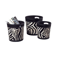 Sterling Industries Set Of 3 Zebra Patterned Magazine Holders Decorative Accessory in Zebra Print 51-10034/S3