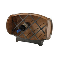 Sterling Half Barrel Wine Rack Wine Rack in Stained Wood Tone With Iron Accents 51-10094