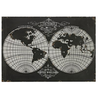 World Map Distressed Back Metal Wall Décor