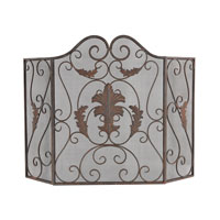 Iron Scroll Blackened Iron With Red Antique Dusting Fire Screen