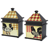 Sterling Industries Set of 2 Harlequin Rooster Boxes Decorative Accessory 51-9267