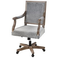Sterling 5231-004 Lord Byron Grey Velvet with Salvaged Grey Oak Office Chair