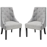Nine Elms Grey Linen Fabric with Black Accent Chair