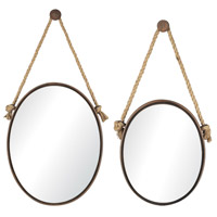 Sterling Industries Set of 2 Mirrors On Rope - Oval in Rust 53-8503