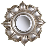 Lotus 16 X 16 inch Bright Silver Leaf Mirror Home Decor
