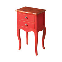 Sterling Armador Side Table in Light Brown Top and Red Body 6500000