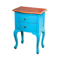 Sterling Holtville Side Table in Light Brown Top and Blue Body 6500001