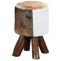 Signature Cow Hide and Brown Leg Stool Home Decor