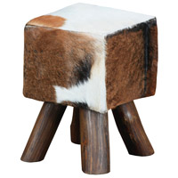 Signature 18 inch Cow Hide and Brown Leg Stool