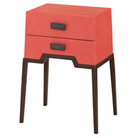 Sterling 7011-963C Ziggy 22 X 16 inch Natural Raffia and Coral and Aged Brass Tone Side Table, Grapefruit