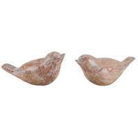Signature White Washed Bird Sculptures