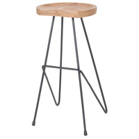 Sterling Backon Stool in Natural Teak, Bronze Iron 7162-050
