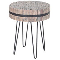 Nutela 18 X 18 inch Natural Woodtone, Bronze Iron Accent Table Home Decor