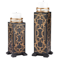 Sterling Set of 2 Gatsby Candleholder in Black and Gold 87-005/S2