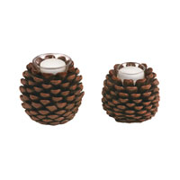 Sterling Industries Set of 2 Pinecone Votives Decorative Accessory 87-1993 photo thumbnail