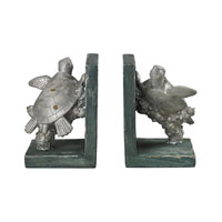 Sterling Industries Swimming Turtle Bookends in Gannon Green / Silver 87-8015