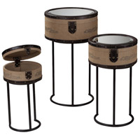Sterling Industries Set Of 3 Chateau Des Bruges Stacking Boxes On Stands in Linen / Chocolate / Black 89-8000/S3