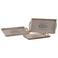 Sterling Industries Set Of 3 Les Tulips Linen Covered Trays Charge in Linen / Washed Pine 89-8002/S3