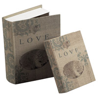 Sterling Industries Set Of 2 Love Keepsake Books Decorative Accessory in Cream Linen 89-8004/S2
