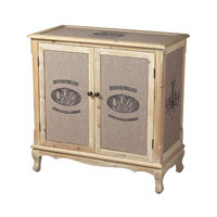 Sterling Industries Les Tulips Linen Covered Cabinet in Linen / Washed Pine 89-8006