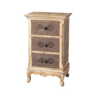 Linen Covered Dark Linen / Washed Pine Chest of Drawers