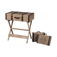 Sterling Industries Les Tulips Linen Covered Travelling Chestso N Stand Travellers Chest in Linen / Chocolate / Washed Pine 89-8010/S3
