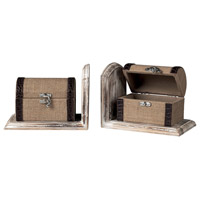 Sterling Industries Travellers Trunk Bookends Decorative Accessory in Linen / Chocolate / Washed Pine 89-8014/S2