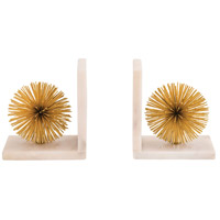 Pom 10 inch Gold And White Bookends, Set of 2