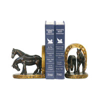 Sterling Industries Pair Horse And Horseshoe Bookends Decorative Accessory 91-2062
