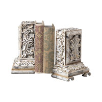 Sterling Industries Carbed Bookends In White With Gold Highlight Decorative Accessory in Pilmico 93-10055/S2