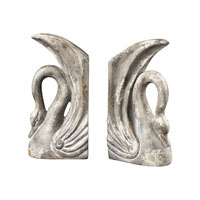 Sterling Industries Swan Bookends Decorative Accessory in Restoration Grey 93-10058/S2 photo thumbnail