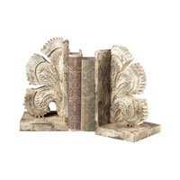 Sterling Industries Carved Fan Bookends Decorative Accessory in Vintage White 93-10061/S2