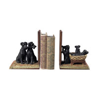 Sterling Industries Puppies In A Basket Bookends Decorative Accessory in Black / Natural 93-10063/S2