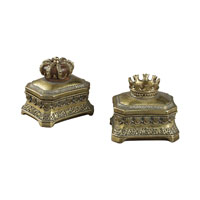 Sterling Industries Set of 2 Mini Keep Sake Boxes in Sasha Bright Gold 93-10100