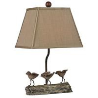 Little Birds On A Log 18 inch 60 watt Cedar Pond Table Lamp Portable Light