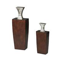 Sterling Industries Set of 2 Mid-Century Inspired Jars with Stoppers in Peconic Copper and Silver 93-19306/S2
