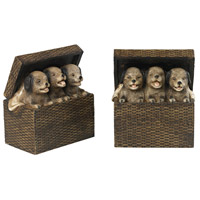 Puppies in Baskets Sills Natural Rattan Bookends
